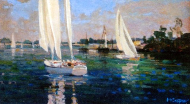 Sailboats Painting Lake